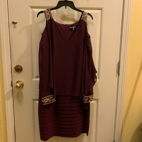 Betsy & Adam Plus Size Cold-Shoulder Popover Dress NWT